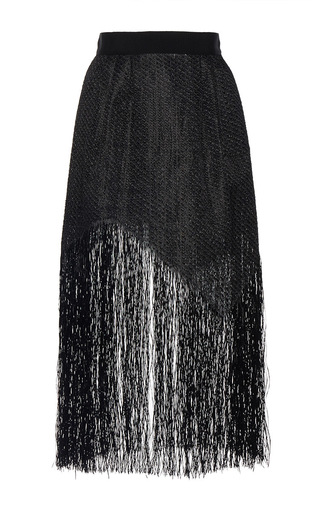 Medium maison rabih kayrouz black fringe zig zag midi skirt