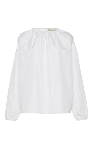 Medium maison rabih kayrouz white gathered long sleeve blouse