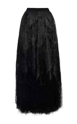 Medium maison rabih kayrouz black fringe long skirt