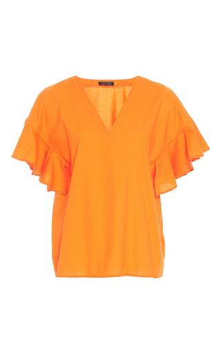 Medium mds stripes orange flutter sleeve v neck top