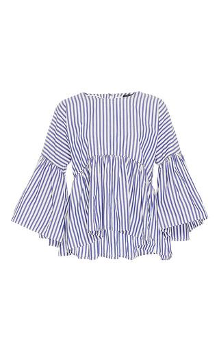 Medium mds stripes stripe bell sleeve ruffle top