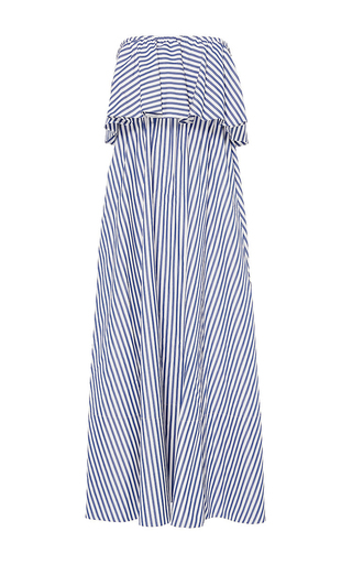 Medium mds stripes stripe ruffled maxi dress