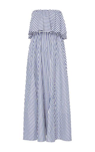 Medium mds stripes stripe ruffled maxi dress