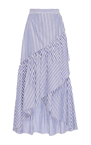 Medium mds stripes stripe ruffled pencil skirt