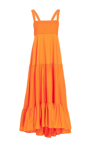 Medium mds stripes orange tiered tank dress