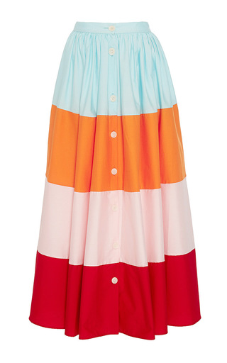Medium mds stripes multi colorblock button front skirt