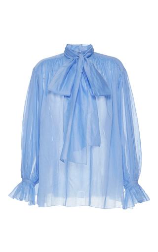 Medium vika gazinskaya blue blue scarf neck cotton blouse