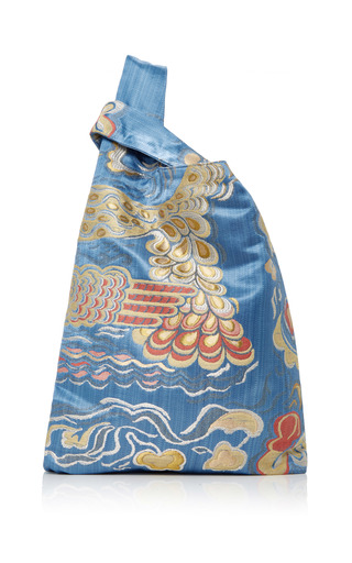 Medium hayward blue venetian silk brocade tote