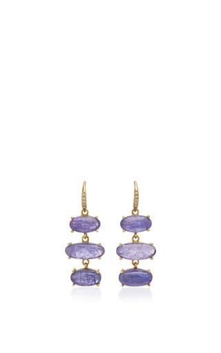 Medium lauren k blue cabochon tanzanite earrings