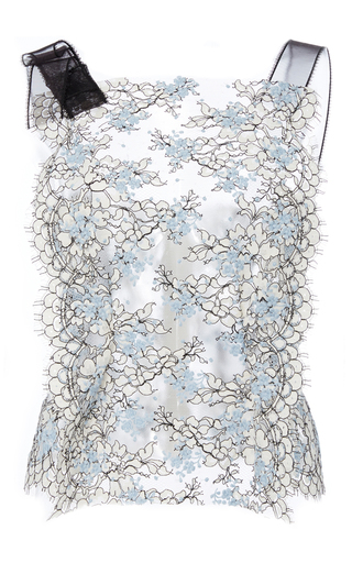 Medium katie ermilio blue scalloped bib front lace top