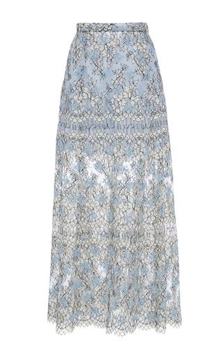Medium katie ermilio blue a line embroidered lace midi skirt