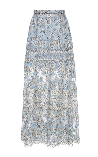 Medium katie ermilio blue a line embroidered lace midi skirt