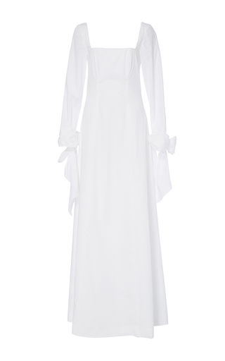 Medium katie ermilio white knotted bow cuff pleat back gown