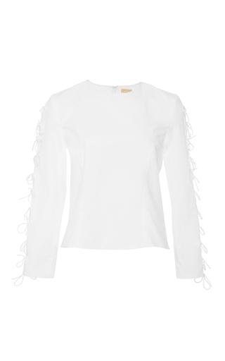 Medium katie ermilio white bow tie sleeve blouse