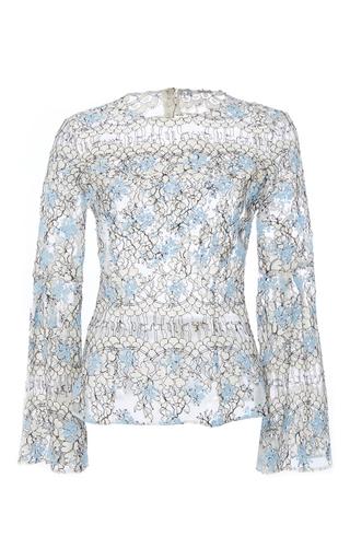 Medium katie ermilio blue pleated bell sleeve lace blouse