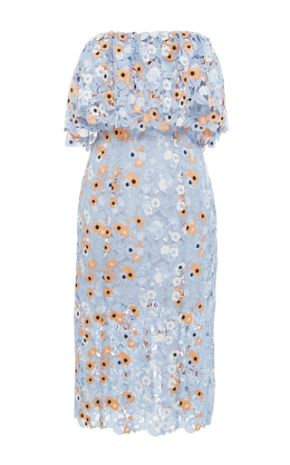 Medium katie ermilio multi floral guipure ruffle column midi dress