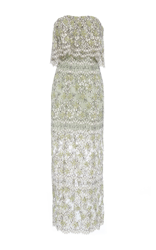 Medium katie ermilio green cinched ruffle embroidered lace midi dress