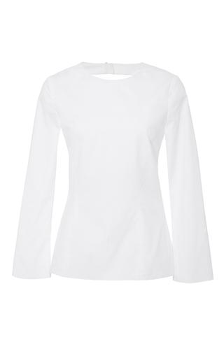 Medium katie ermilio white bell sleeve tie back blouse