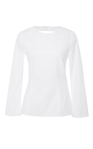 Medium katie ermilio white bell sleeve tie back blouse
