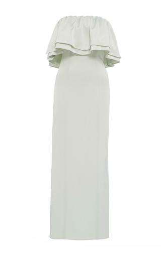 Medium katie ermilio green ruffle column midi dress