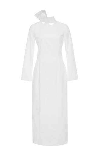 Medium katie ermilio white cutout mock neck bow sash midi dress