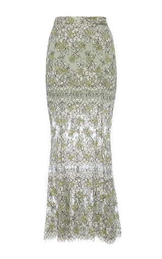 Medium katie ermilio green embroidered lace fishtail midi skirt