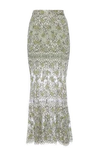 Medium katie ermilio green embroidered lace fishtail midi skirt