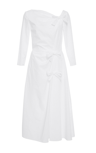 Medium katie ermilio white bow cinched a line dress