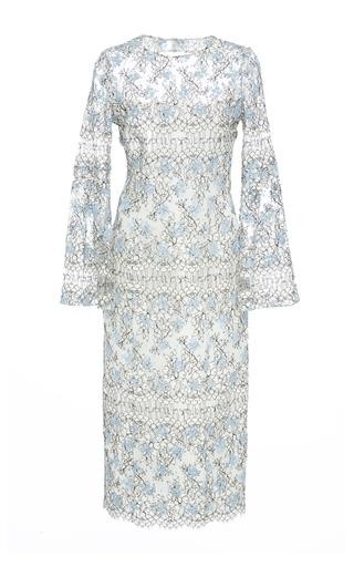 Medium katie ermilio blue pleated bell sleeve midi sheath dress