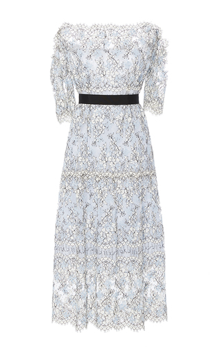 Medium katie ermilio blue embroidered lace off shoulder scallop midi dress