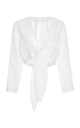Medium lisa marie fernandez white tie front cropped linen blouse