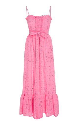 Medium lisa marie fernandez pink ruffled bodice button down cotton lace maxi dress