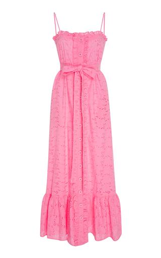Medium lisa marie fernandez pink ruffled bodice button down cotton lace maxi dress