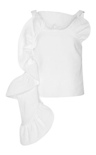 Medium rachel comey white ruffled one shoulder cotton blend top