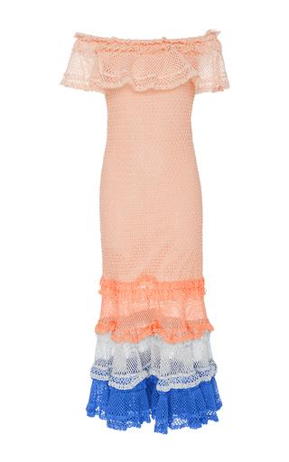 Medium jonathan simkhai pink ruffled open knit stretch cotton dress