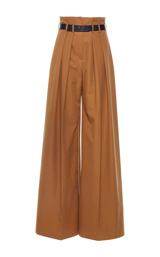 Medium martin grant brown caramel pleated high waisted wide leg pants