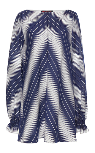 Medium martin grant stripe ruffle cuff a line long sleeve boatneck dress