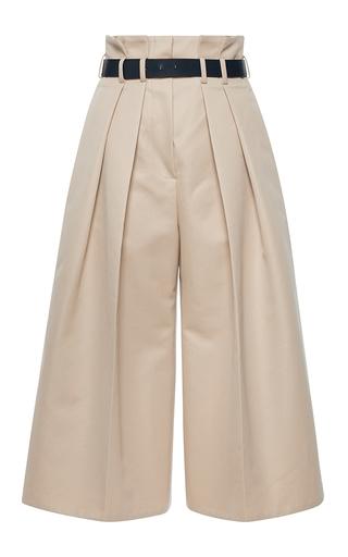 Medium martin grant tan double pleated high waisted bermuda pants