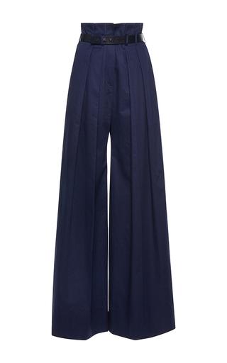Medium martin grant blue navy pleated high waisted wide leg pants