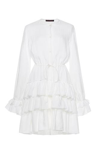 Medium martin grant white linen ruffle long sleeve dress