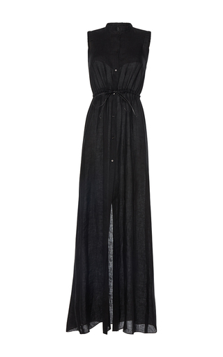 Medium martin grant black linen drawstring sleeveless maxi dress