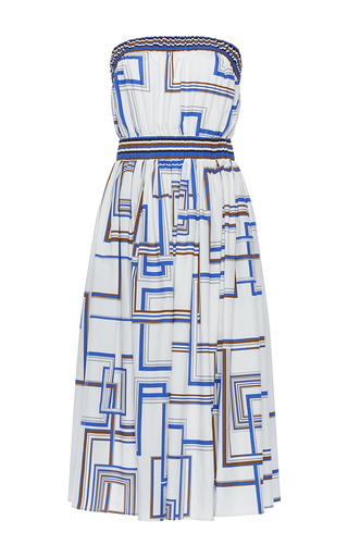 Medium martin grant print strapless elastic waist dress