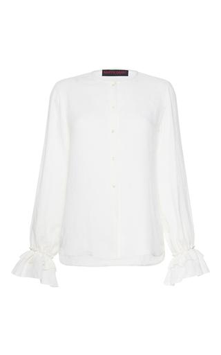 Medium martin grant white linen ruffle cuff shirt