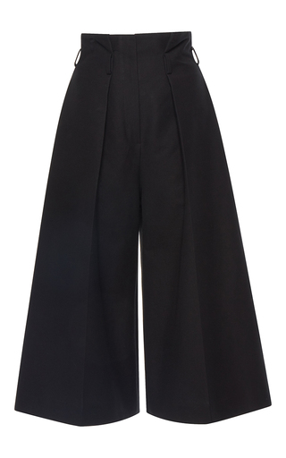 Medium martin grant black pleated high waisted bermuda pants
