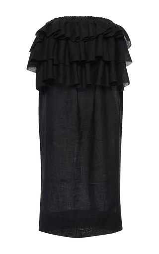 Medium martin grant black strapless ruffle dress