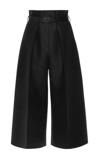 Medium martin grant black silk wool high waisted bermuda pants