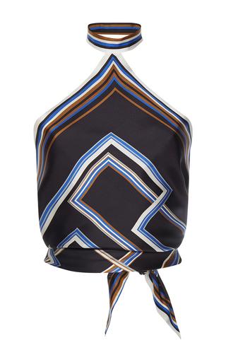 Medium martin grant print knotted halter scarf top