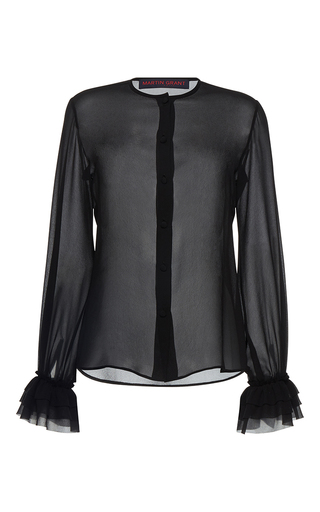 Medium martin grant black silk ruffle shirt