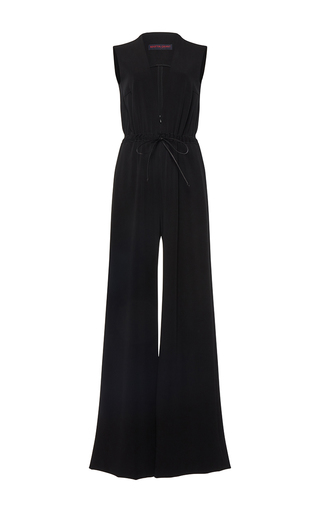 Medium martin grant black v neck drawstring jumpsuit