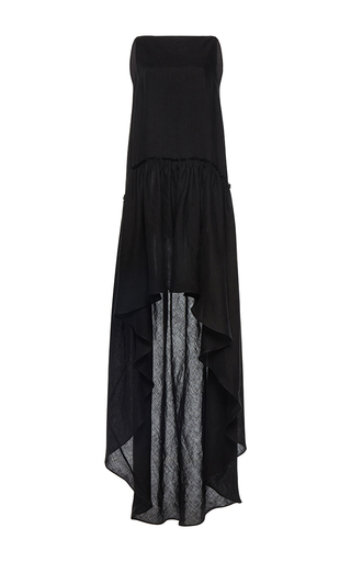 Medium martin grant black linen a line boatneck ruffle gown